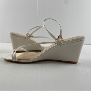 Women's White Strappy Wedge Heel Shoes Size 8